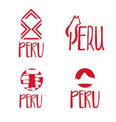 set concept logo template for peru theme vector image