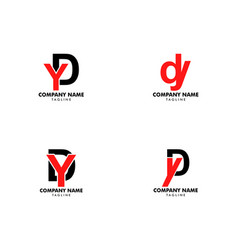 set initial letter dy logo template design vector image