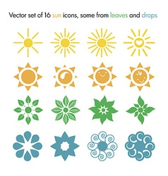 set of 16 sun icons some from leaves and drops vector image