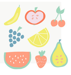 set of summer fruit icons vector image