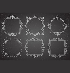 set of victorian vintage decoration frames vector image