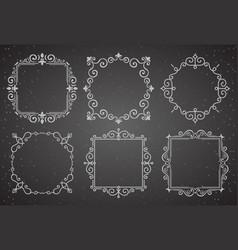 set victorian vintage decoration frames vector image