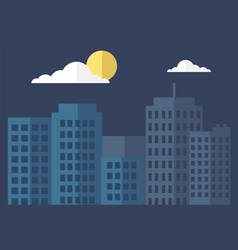 silhouette city and night with clouds and moon vector image