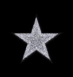 Silver star banner silver glitter vector