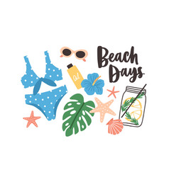 stylish summer composition with beach days phrase vector image