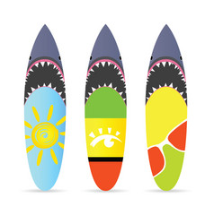 surfboard with shark on it set leisure vector image