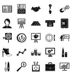 Symposium icons set simple style vector