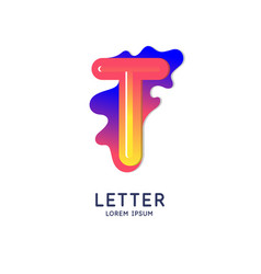 The letter t latin alphabet display vector