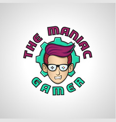 The maniac gamer is a gamer hobbies logo or logo vector