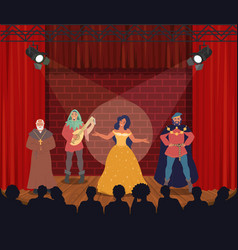 Theatrical performance actors performing on stage vector
