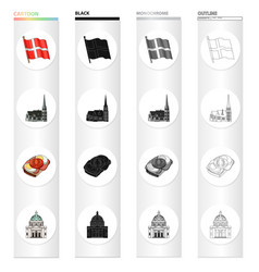 traveling in denmark cartoon icons in set vector image