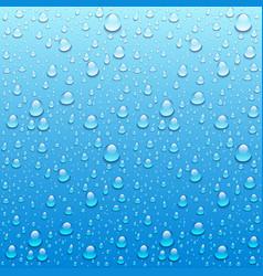 Water drops on glass rain drops on clear window vector