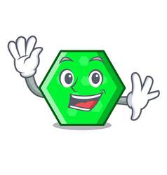 Waving octagon character cartoon style vector