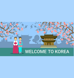 welcome to south korea banner korean coupe in vector image