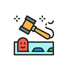 Whack mole game with hammer flat color line icon vector
