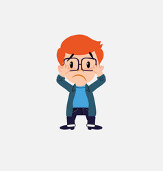 White boy with glasses surprised vector