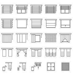 Window curtains blinds and jalouise line icons vector