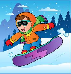 Winter scene with boy on snowboard vector