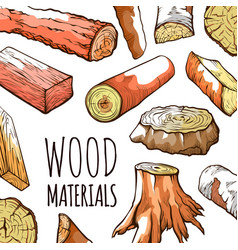 wood natural material logs in brown water color vector image