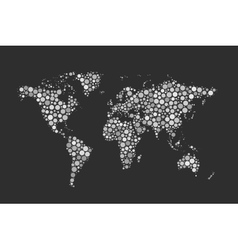 World Map made up from modern white circles vector image vector image