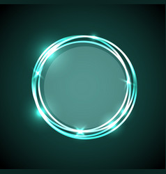 abstract background with green neon circles banner vector image