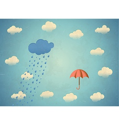 Aged card with rainy cloud and umbrella vector image