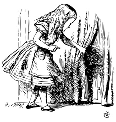 Alice is looking behind a curtain to reveal a vector image vector image