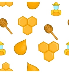 Bee honey pattern cartoon style vector image