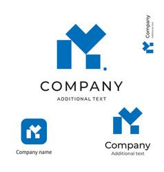 m letter technological contstruction logo modern vector image vector image