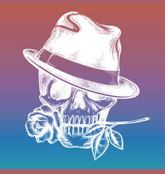 skull with rose on colorful backdrop vector image