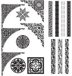 Arabic ornament corners vector image