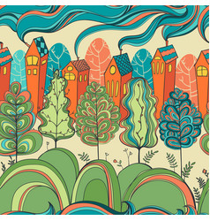 seamless pattern with trees and houses vector image vector image