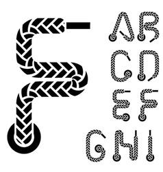 shoe lace alphabet letters part 1 vector image