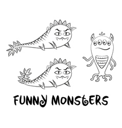 Contour Monsters Set vector image