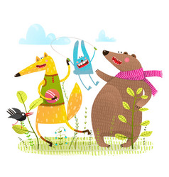 fox bear rabbit crow playing on the playground vector image vector image