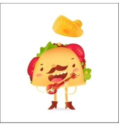 Happy taco character in sombrero singing and vector image