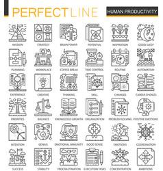 human productivity outline mini concept symbols vector image vector image