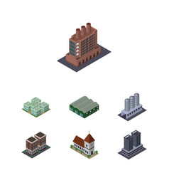Isometric architecture set of house clinic vector