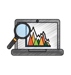 laptop schedule information graph diagram viewed vector image