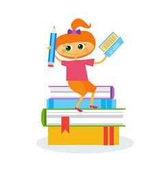 Little girl reading sitting on stack of books vector