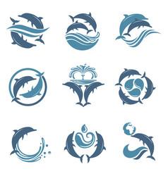 dolphin emblem set vector image vector image