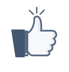 Modern thumb up blue icon on white vector
