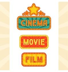 Set of glowing retro cinema neon signs vector image