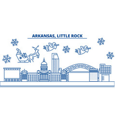 usa arkansas little rock winter city skyline vector image