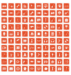 100 show business icons set grunge orange vector