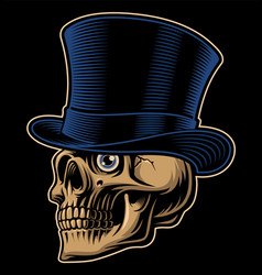 A skull in top hat vector