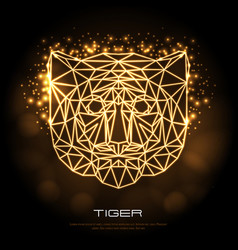 abstract polygonal tirangle animal tiger neon vector image