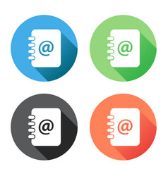 Address book icon with long shadow email note vector