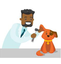 African-american veterinarian examining dog vector