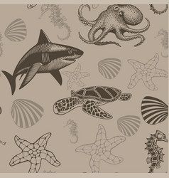 aquatic seamless pattern vector image
